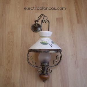 aplique colgante esduber ceramica-madera E27 1x40w. - electroblancas